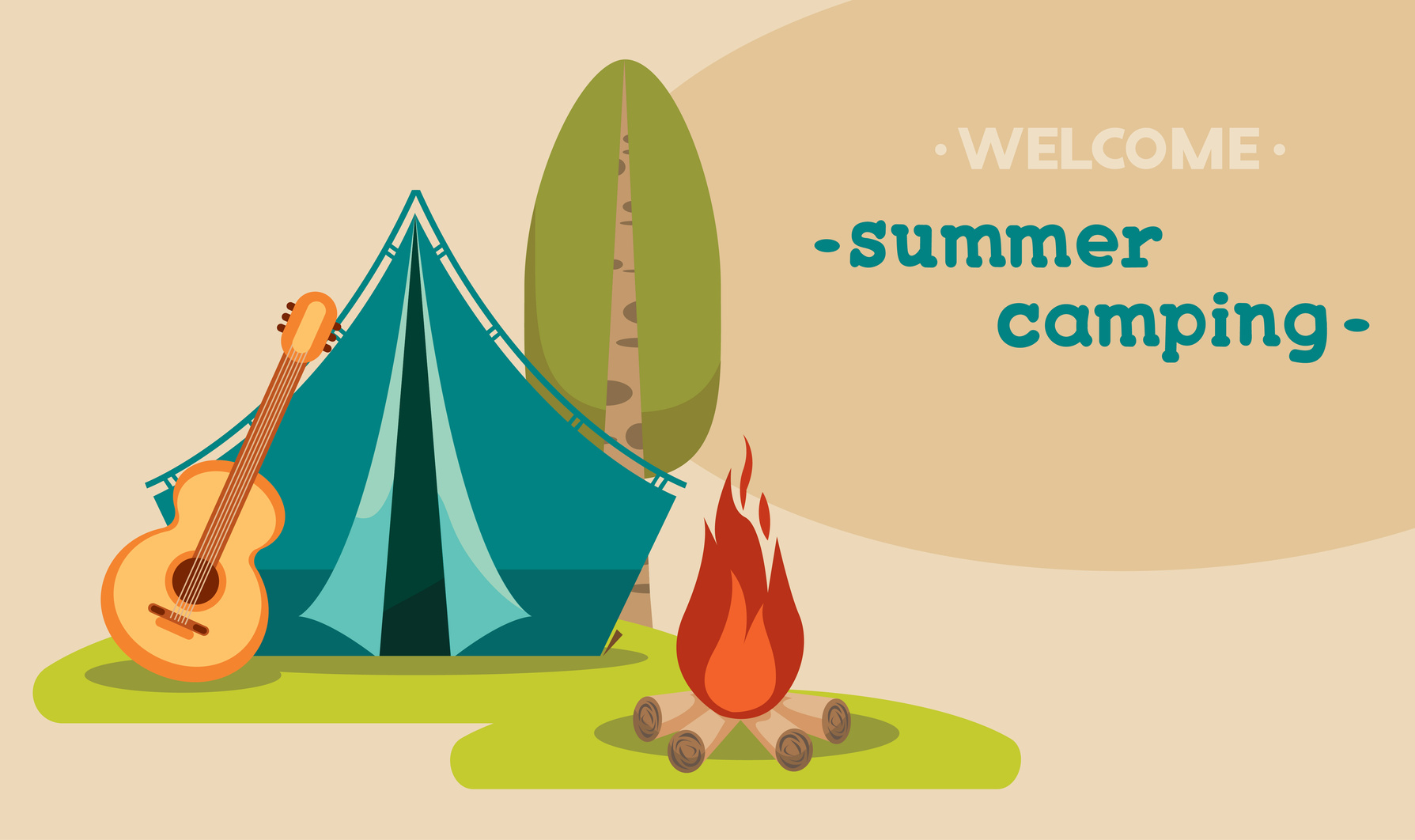 Vector Illustration With Blue Tent, Guitar And Campfire On A Green Grass. Summer Tourist Camping.